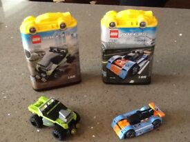Lego Racers 8192 Lime Green and 8193 Blue Bullet