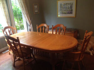 Oak dining set and cabinet