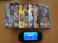 psp 1000 with 32gb memory & 200 games