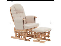 Glider chair with footstool- natural wood & beige cushion