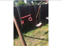 Wooden swing and rubber mats