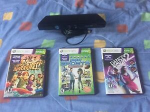 XBOX 360 KINECT - 3 GAMES INCLUDED - USED