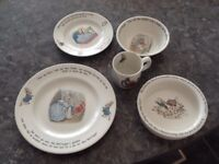 Vintage 5 piece dinner set Peter Rabbit wedgewood