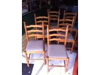 Set of 6 Pine Chairs.