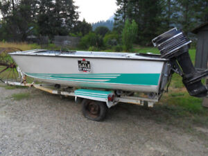 great project 16ft aluminum boat 65hp merc /trailer
