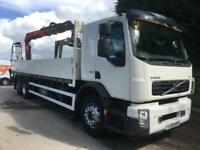 2008 58 Volvo FE 320 Euro 5 6x2 25ft dropside, Fassi F150 crane with block grab