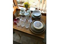 Job lot of dishes and crystal glasses