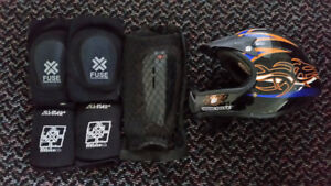 BRAND NEW ELBOW, KNEE AND SHIN PADS /MONGOOSE FULL FACE HELMET