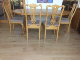 Pine Dining Table and Birch Chairs