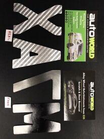 GENUINE REAL CARBON FIBRE CAR NUMBER PLATE SET 3D GEL DOMED FONT RAISED EMBOSSED