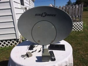 Satellite Dish with Receiver, Remote and Cords