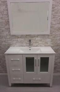 "40"" White Ceramic Top Bathroom Vanity"