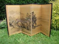 ORIGINAL HAND PAINTED CHINESE SILK TABLE SCREEN - SIGNED