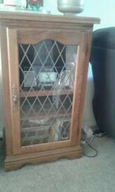 Wood glass door and 3 wooden shelves. Can house stereo etc