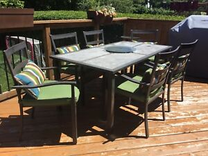 Beautiful Six Chair Deck Table