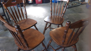 4 wooden chairs oak heavy chairs