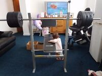 Weights Bench with extra weights and spare bar.