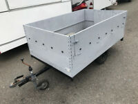 Large metal 6.6ft x 4ft box trailer with fold down ramp and side - good for bikes or rubbish