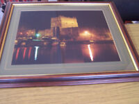 Picture of Carrickfergus Castle at night in wooden frame