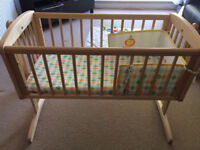 BABY CRIB - Swings/Can lock into place comes with crib mattress
