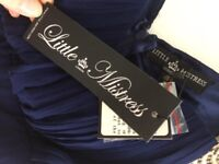 2x Little Mistress London 2in1 Embelished prom/party Dress navy/cream UK Size 10 New with tags