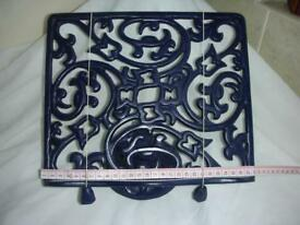BLUE CAST IRON COOKERY BOOK STAND