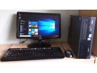"Fujitsu Windows 10 Pro Slim PC Computer/WIFI/2GB RAM/160GB/19""Widescreen Monitor"