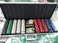 Poker set - Hard Silver case poker set. Never used - cards, chips and dice still in cellophane
