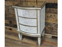 Brand New Silver Crackle Glaze Mirrored Bedside Cabinet DELIVERY AVAILABLE