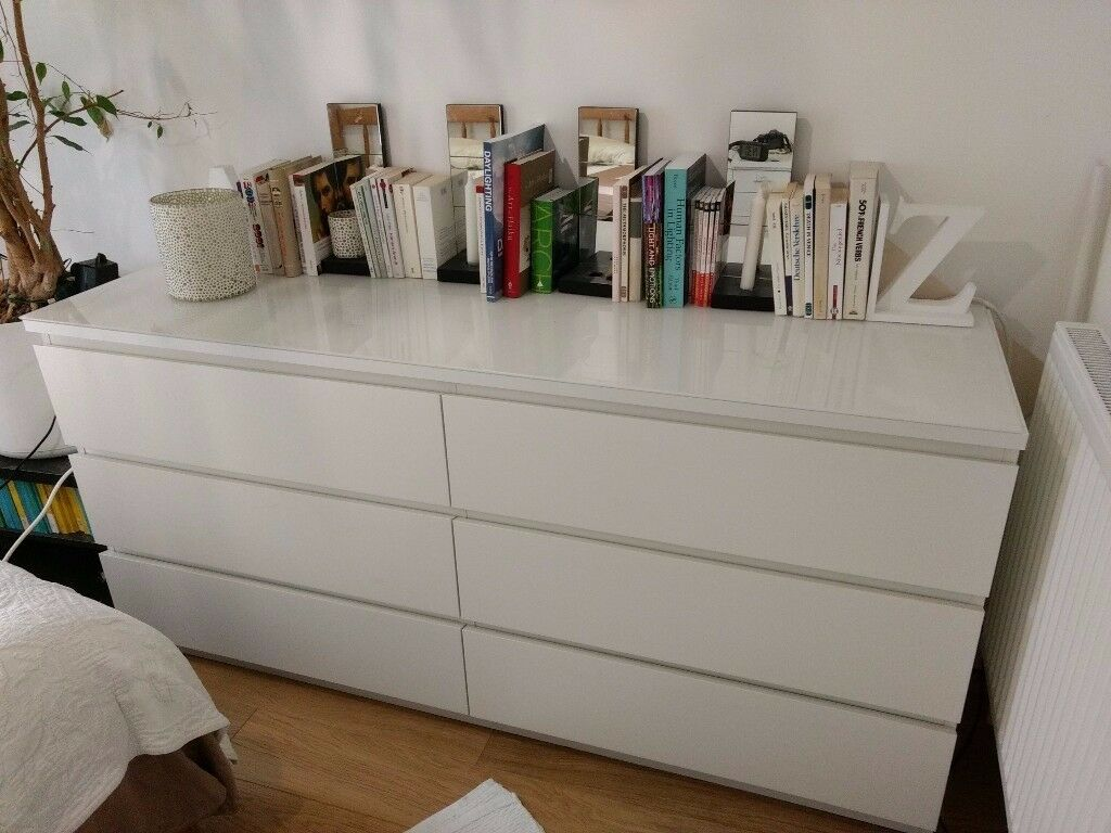White IKEA Malm 6 Drawer Dresser With Frosted Glass Top