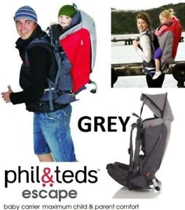 NEW PHIL & TEDS ESCAPE BACKPACK CARRIER - GREY