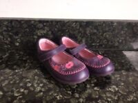 Clarks Girls Leather Purple Shoes Size 9.5F