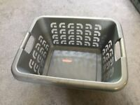 x2 washing baskets- Grey Curver and White plastic one- both in excellent condition