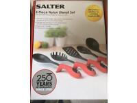 Salter 5 piece nylon utensil set