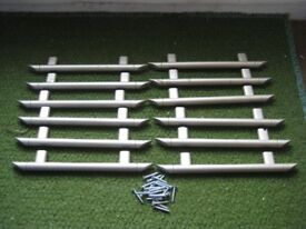12 Matching Grey Plastic Drawer or Door Handles with 24 Screws Included for £5.00
