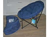 """2 mint condition """"Moon"""" chairs complete with carrrying bags in blue."""