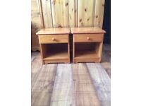 pair of kids pine bedside tables