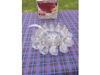 Glass Punch bowl with glasses and ladle