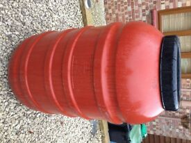 Orange 220 / 200 Litre Plastic HDPE Barrels, Drum Tank Water Butt Waterbutt Brewing Home Brew