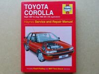 Toyota Corolla Haynes Manual (Petrol: 1.3 litre & 1.6 litre) Sept 1987-Aug 1992 E to K Hardback/Used