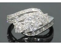 One Carat Diamond Ring: 1OK White Gold/ With Certification.