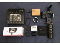 Black Magic Pocket Cinema Camera + LCD Monitor + Armor Cage Rig + Lenses + More