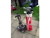 Golf Clubs + Caddy + assorted balls and tees
