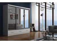 BRANDED🔥💗💖MARGO WARDROBE w 3 DRAWERS❤Full Mirror Sliding Door Wardrobe w Shelves, Hanging,5 sizeS