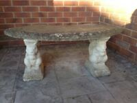 Solid squirrel stone garden bench