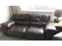 Real Leather Brown Sofa and Armchair