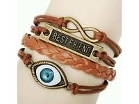 New Ladys Best Friend Heart Owl Braid Bracelet - Coffee