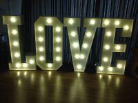 LOVE Letter Lights 4ft for Wedding hire East Sussex £100