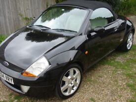 A Ford StreetKA convertible. Fun to drive, low mileage, two lady owners and in fantastic condition.