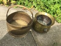 Two Solid Brass Vintage Coal Buckets Planters Woodburner